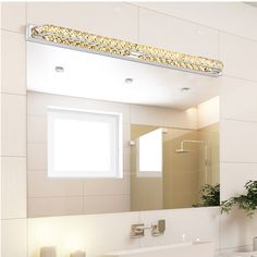 Modern Led Crystal Bathroom Mirror Sconces Light Over Mirror Front Lights Lamp Bath Wall Super Long / Ac Crystal Lights, Crystal Wall, Bathroom Wall Lights, Bathroom Light Fixtures, Bathroom Lighting, Mirror Lamp, Led Mirror, Acrylic Mirror, Wall Lamps
