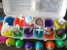 Easter: stations of the cross in egg cartons with stickers and symbols for each station.