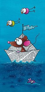 Fine Art print of Mouse sailing in his paper boat.