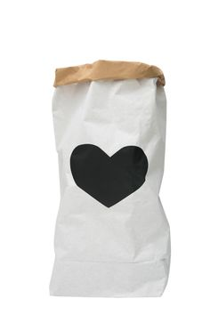 Black Heart paper bag storage of books, magazines or teddy bears - Interior  This gorgeous storage sack is made of paper, white and brown. Durable and reusable many times over. Once placed and arranged into shape, the paper bag becomes a design object in any kids room.  ☛Hand painted ☚