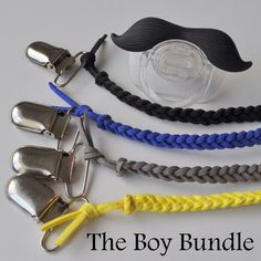 The perfect gift for any baby boy.  The Boy Bundle includes a yellow, gray, blue and black binky clip.  Search braidedlovelies (no space) on Etsy