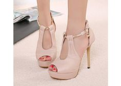 Estilo elegante de color puro y abierto por delante del talón de estilete mujeres del diseño con punta Zapatos para Vender - La Tienda En Online IGOGO.ES