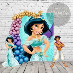 This item is unavailable Custom Vinyl Banners, Personalized Banners, Aladdin Party, Aladdin Cake, Princess Jasmine Party, Theme Mickey, Frozen Theme Party, Aladdin And Jasmine, Backdrop Design