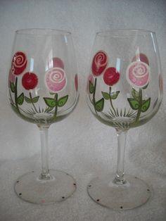 SALE Pink & Red Roses HandPainted Wine Glass by MoonEyesDesigns, $8.00