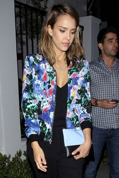 9 Ways to Rock a Floral Bomber Jacket Like Your Favorite Celebrity - JESSICA ALBA  - from InStyle.com