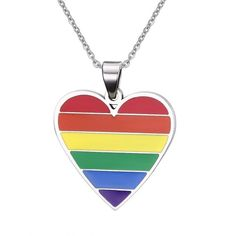 LGBT Gay Pride Heart Shape Stainless Steel Rainbow Enamel Pendant... (€6,24) ❤ liked on Polyvore featuring jewelry, necklaces, enamel jewelry, heart shaped pendant necklace, stainless steel pendant necklace, pendant necklaces and rainbow jewelry
