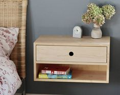 Floating Nightstand with Drawer in Solid Hard Maple / Mid-Century Modern Bedside Table