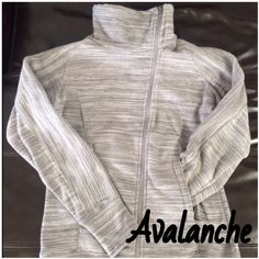 Avalanche Fleece Jacket This jacket is so comfortable, a little tight in my chest though. Worn a few times and still in brand new condition. Medium gray and light gray with asymmetrical zipper. Has a bit of tail in the back to keep draft out. No rips, stains or holes. Avalanche Jackets & Coats