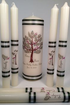 BLENDED FAMILY - Natural Tree Design with BIRDS Personalized Unity Candles on Etsy, $45.00