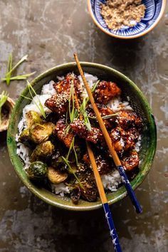Sheet Pan Sticky Ginger Sesame Chicken and Crispy Brussels Sprouts | halfbakedharvest.com Asian Recipes, New Recipes, Cooking Recipes, Healthy Recipes, Ethnic Recipes, Dinner Recipes, Yummy Recipes, Recipies, Yummy Food