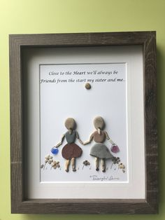"""""""Sisters""""pebble art framed in grey shadow box as shown.Makes a great birthday gift, nursery decor,sure to evoke childhood memories. Thanks for your interest!"""