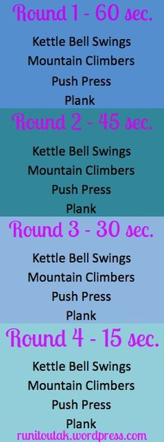 4 round timed HIIT workout- nothing special. maybe added on to hours of other stuff but not a workout on its own Kettlebell Training, Crossfit Warmup, Heath And Fitness, High Intensity Interval Training, Strength Workout, I Work Out, Fitness Nutrition, Excercise, Hiit