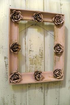Pink shabby chic wall frame embellished by AnitaSperoDesign
