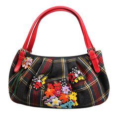 e4d3be1dfae Moschino Tartan and Felted Wool Handbag