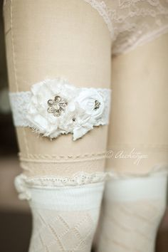 Bridal Accessory- White Wedding Garter- Silk Rosette Lace Garter