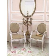 Notice the chairs- love the style and the french detailing, but would love different upholstery