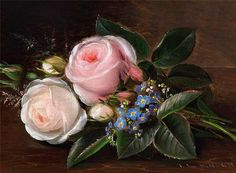 Johan Laurentz Jensen A bunch of roses and forget-me-nots on a sill Beautiful Flowers Pictures, Flower Pictures, Exotic Flowers, Pink Flowers, Alien Drawings, Art For Art Sake, Floral Illustrations, Floral Bouquets, Botanical Art