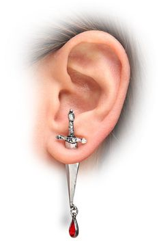 "Drop of Blood Dagger Earring (by ThinkGeek) I'm not sure this is necessarily literary related... but it makes me think of ""King Arthur"" or medieval literature.  (And there's nothing really painful about putting this in--the handle is basically just a stud, with the blade part fastened to that)"