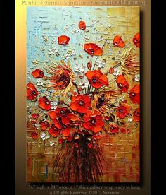 Oil Painting 36 ORIGINAL Large Abstract Brown Blue Red Poppies Impasto Oil Painting byPaula 36 Ready to Hang via Etsy: