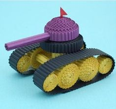 3D Battle Tank using corrugated strips- could be done with quilling strips too