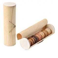Coffret cylindrique en bois à macarons - Par 50