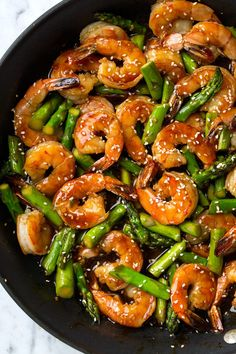 Teriyaki Shrimp and Asparagus Stir-Fry - Cooking Classy - You know how I love that teriyaki sauce, but it wasn't until now that I tried it with shrimp and I'm hooked! This easy Teriyaki Shrimp and Asparagus is a s Stir Fry Recipes, Fish Recipes, Seafood Recipes, Asian Recipes, Cooking Recipes, Healthy Recipes, Asian Asparagus Recipes, Recipes With Shrimp, Frozen Shrimp Recipes