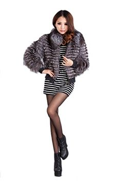 Bafei Women's Warm Silver Fox Fur Jac…