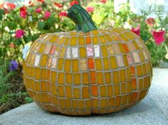 "https://flic.kr/p/3fzepf | pumpkin mosaic | 7"" glazed ceramic pumpkin covered with orange stained glass."