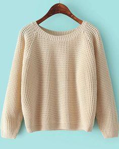 Apricot Round Neck Long Sleeve Chunky Sweater - Sheinside.com