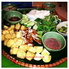 Bún đậu mắm tôm (Includig ư vermicelli, basil leaves, purple mint leaves, shrimp paste added sugar + lime juice, fried tofu, cucumber! Perfect <3.   Source www.vietnamesefood.com.vn