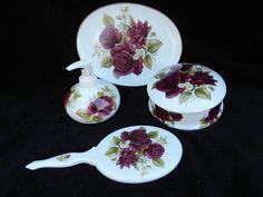 Vanity Set: Hand Decorated Porcelain