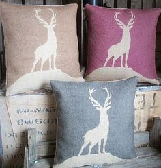 This stunning Highland Stag is hand made and hand printed in the UK. Natural hessian, Cotton and Pure Irish Linen are the main fabrics for the cushions and accessories in the Rustic Country Crafts range. Available in Charcoal Black, Plum, and Chestnut brown.