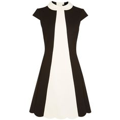 Karen Millen Colourblock 60s Dress (€185) ❤ liked on Polyvore featuring dresses, black ivory, women, karen millen, black shift dress, black ivory dress, ivory dress and color block dress