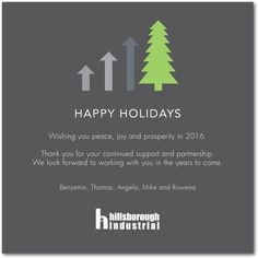 Upward Trend Business Holiday Cards In Charcoal