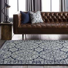 Add rich, mood indigo accents to a traditional space for a sophisticated look! (@smithsonian for Surya rug: SMI-2112)