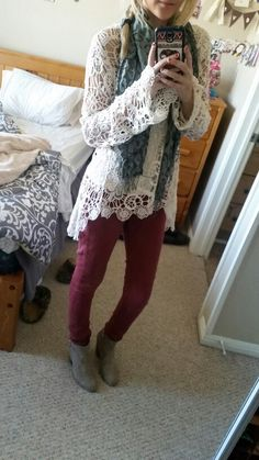 #ootd ankle boots. Red-orange skinnies. Lace top. Gray cheetah scarf.