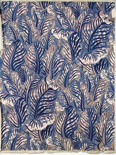 ¤ Raoul Dufy, Design no. 53181, with a repeat design of foliage in mauve, pink, blue and beige bodycolour on thin paper - 81 x 65cm.