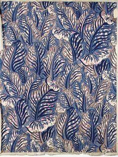 Raoul Dufy design w/a repeat design of foliage in mauve, pink, blue & beige body color
