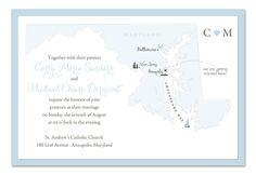 Love in Maryland wedding invitation