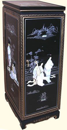 Oriental Pedestal Black Lacquer And Pearl Inlaid