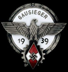 GERMAN NAZI HITLER YOUTH GAUSIEGER ENAMELED BADGE : Lot 4244