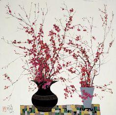 "iamjapanese: "" Pang Jiun(龎均 Taiwanese, b.1936 ) Spring at My Place 2007 Oil on canvas 175(L) x 175(W) cm via """