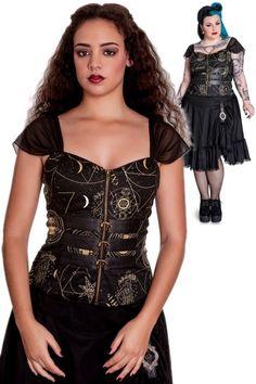 Pentagram Dark Arts Corset Style Top by Spin Doctor | Ladies