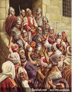 Paul goes to Jerusalem to bring benevolent funds to the Christian there from the Christians in Anatolia and Greece, But he is falsely accused by the Jews and arrested. They beat him until the Roman soldiers rescued him. Art Pictures, Art Images, Paul The Apostle, Flannel Board Stories, Total Image, Jesus Art, Roman Soldiers, Bible For Kids, Bible Stories