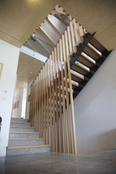 Crazy full-height timber balustrades - too out there? Staircase Handrail, Banisters, Stair Railing, Basement Stairs, House Stairs, Railing Design, Staircase Design, Timber Stair, Escalier Design