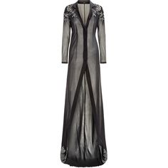 La Perla Peony Black Long Robe in Embroidered Tulle and Silk Georgette (€1.870) ❤ liked on Polyvore featuring intimates, robes, bath robes, embroidered robes, long dressing gowns, la perla and embroidered dressing gown