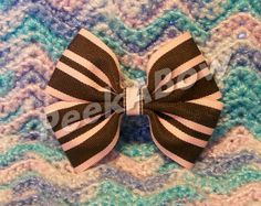 Pink and Brown Basic Hair Bow by PeekABowBows on Etsy, $3.00