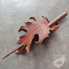 Fall Oak Leather Leaf Barrette - Hair Stick Or Hair Slide In Rich Cocoa And Cinnamon