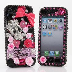 Style # PN_1059 Bling Cases, Personalized Name Custom Made crystals Flower Leaf design case for iphone 5, iphone 5s, iphone 6, Samsung Galaxy S4, S5, Note 2, Note 3, LG, HTC, Sony – LuxAddiction.com