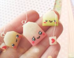 Set of 3 Kawaii Tea Bag Polymer Clay Charms. Cute Polymer Clay, Cute Clay, Fimo Clay, Polymer Clay Charms, Polymer Clay Projects, Polymer Clay Creations, Clay Crafts, Polymer Clay Jewelry, Fimo Kawaii